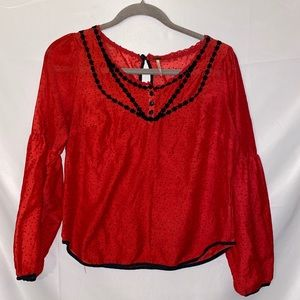 Free people blouse Red black Sz S